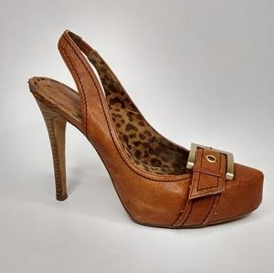 Jessica Simpson Brown Buckle Strap On 6.5 Heels